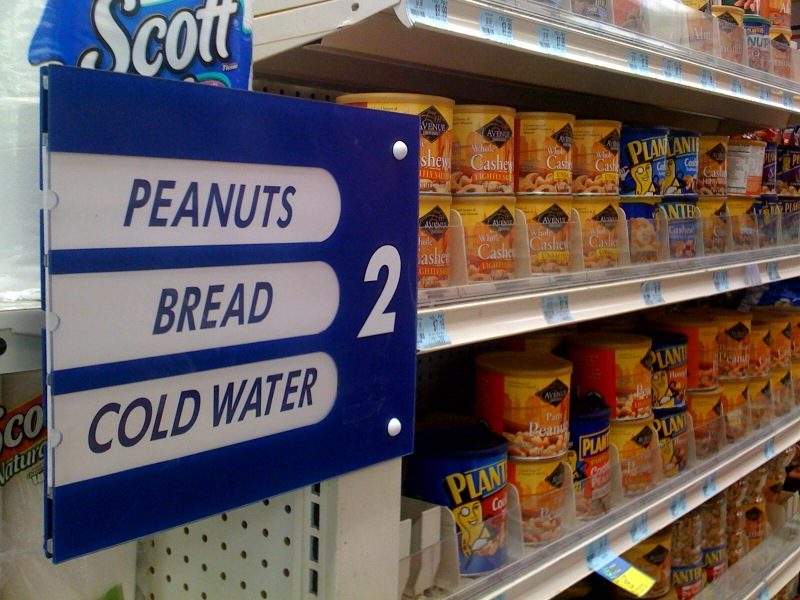 Apparently, peanuts are just as vital to man as bread and water...whatta world!
