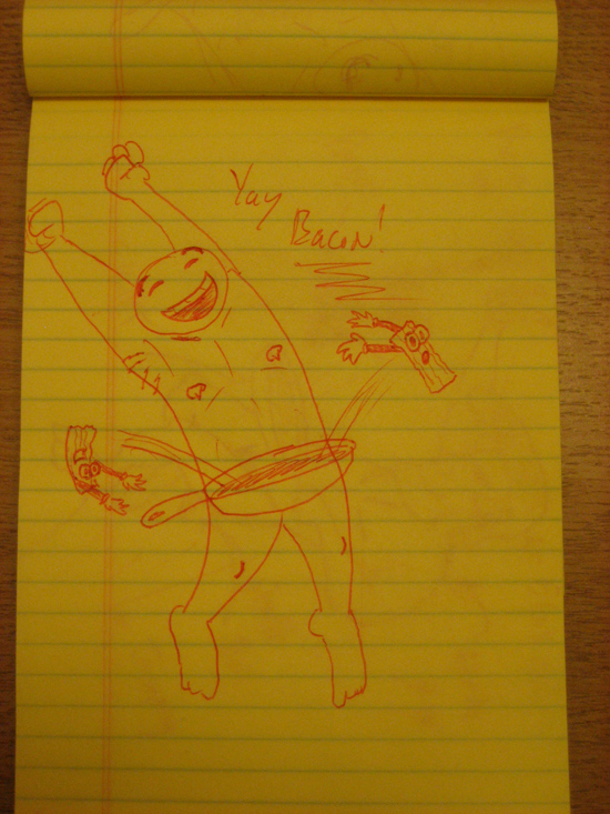 Jumping with joy over bacon. I like this one a lot. Super silly, but it makes me smile.