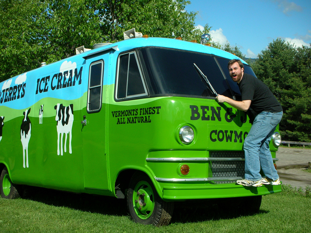 Ben & Jerry's powerfully delicious flavors hit you like a colorfully painted bus!