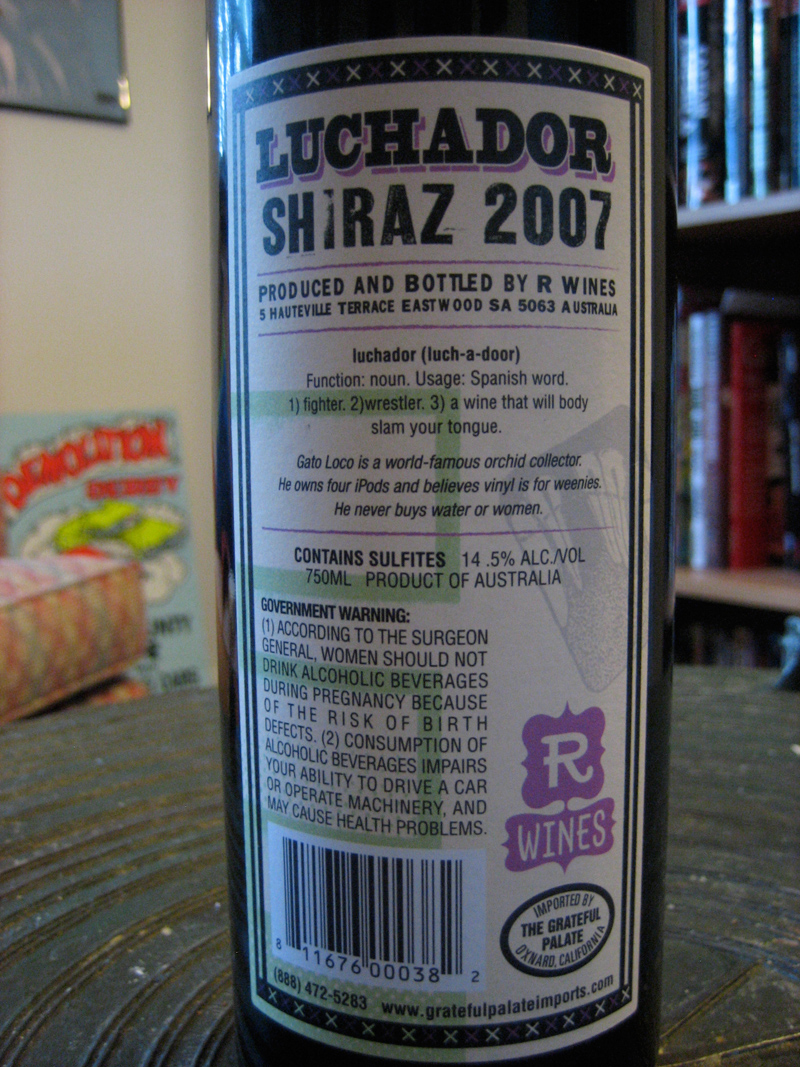 The back of the bottle: Very dictionary-like!