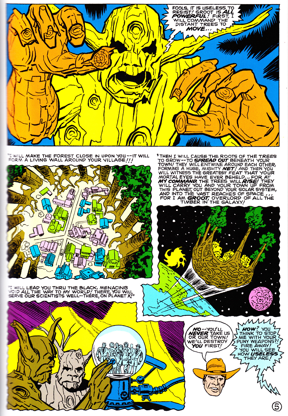 Click to enlarge the page and bask in the glory of Groot's ridiculous speech!