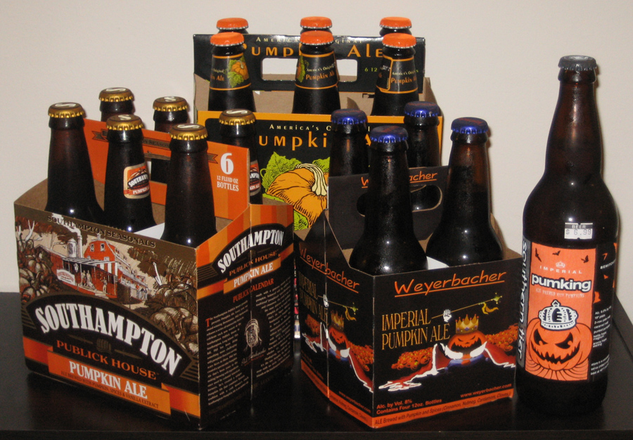 "The first four brews that will be covered in ""The Great Pumpkin Beer Hunt and Review Festival of 2009."" (Click to Enlarge)"