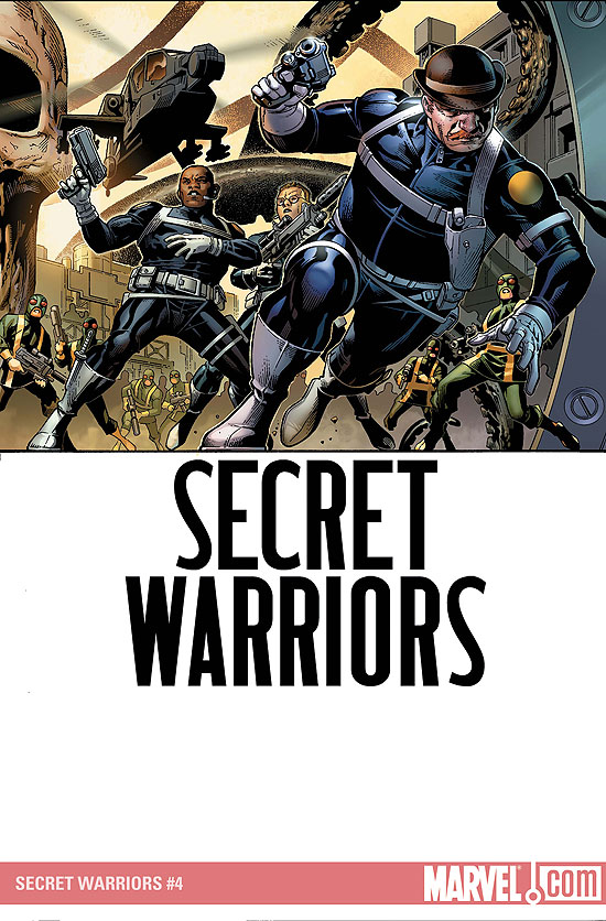 "Dum Dum on a Jimmy Cheung illustrated cover of ""Secret Warriors"" with moustache in full effect."