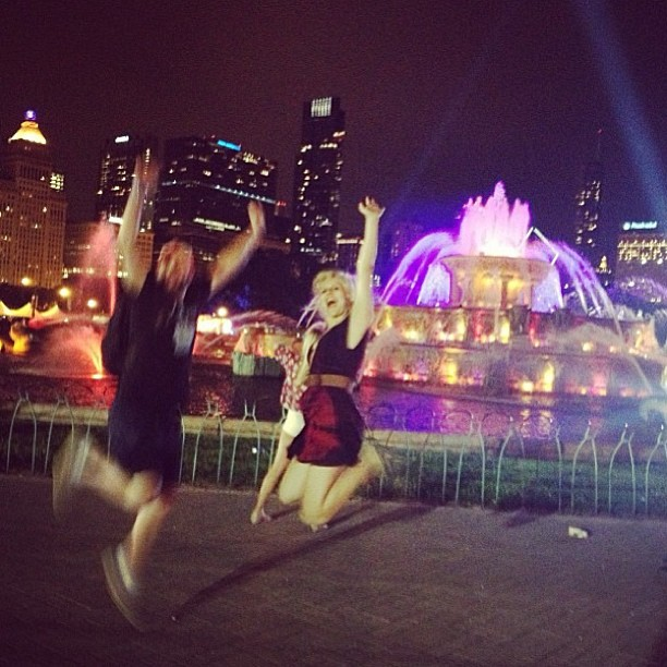 Katie and I closing out the festival in front of the glowing Buckingham Fountain smack dab in the middle of Chicago's Grant Park, the home of Lollapalooza.
