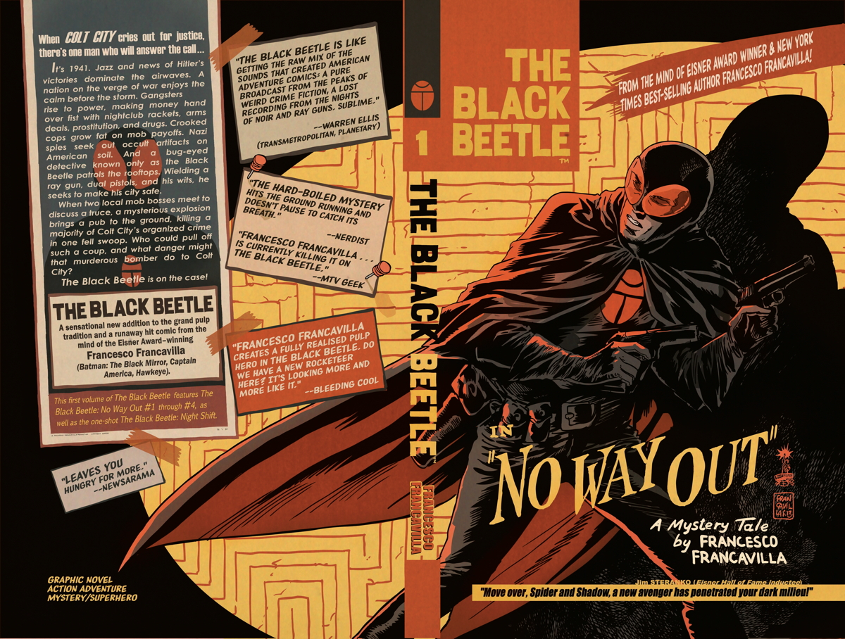 Full wraparound cover and design for The Black Beetle Vol. 1: No Way Out by Francesco Francavilla.